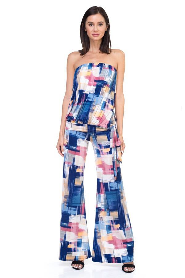 Printed Tube Top With Tie Waist