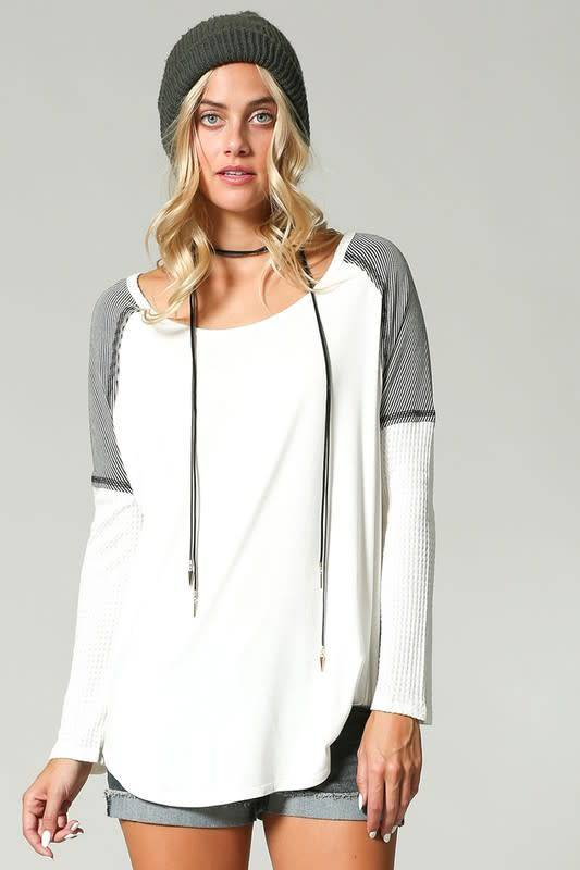 Color Block Top With Waffle Sleeve