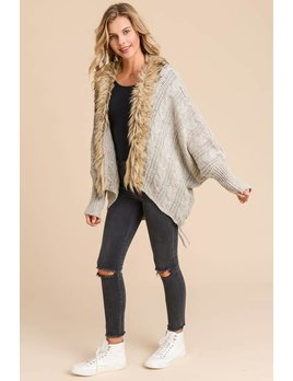 Faux Fur Cardigan With Back Tie