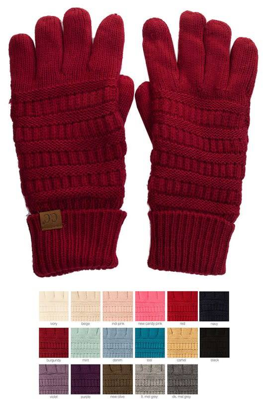 Knit Gloves With Fleece Lining