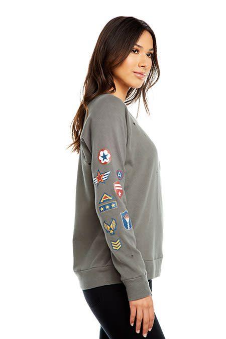 Military Distressed Cotton Sweatshirt