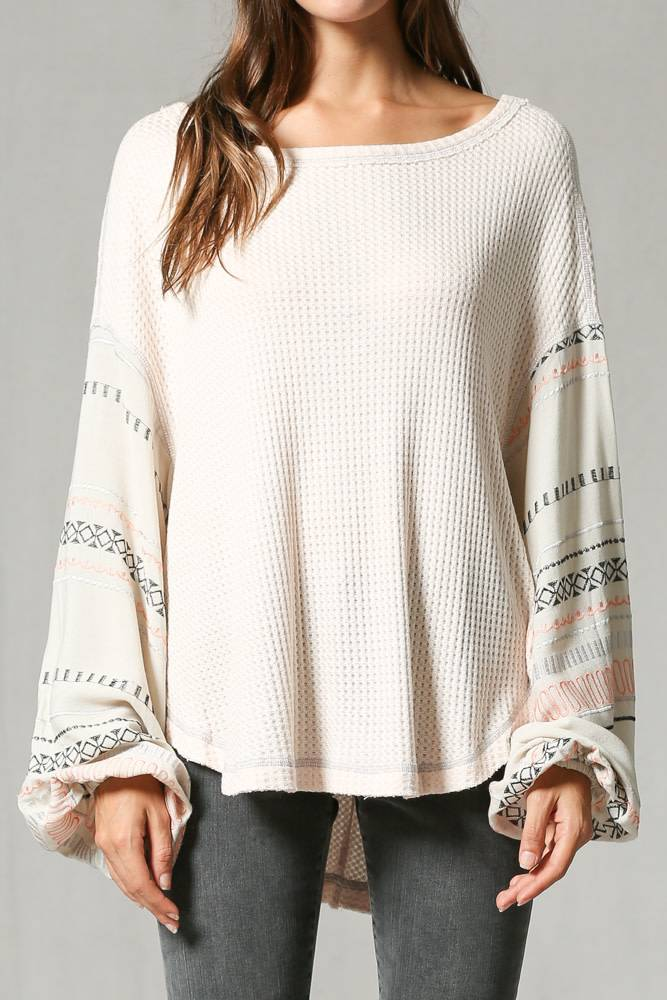 Aztec Embroidered Sleeve Waffle Top