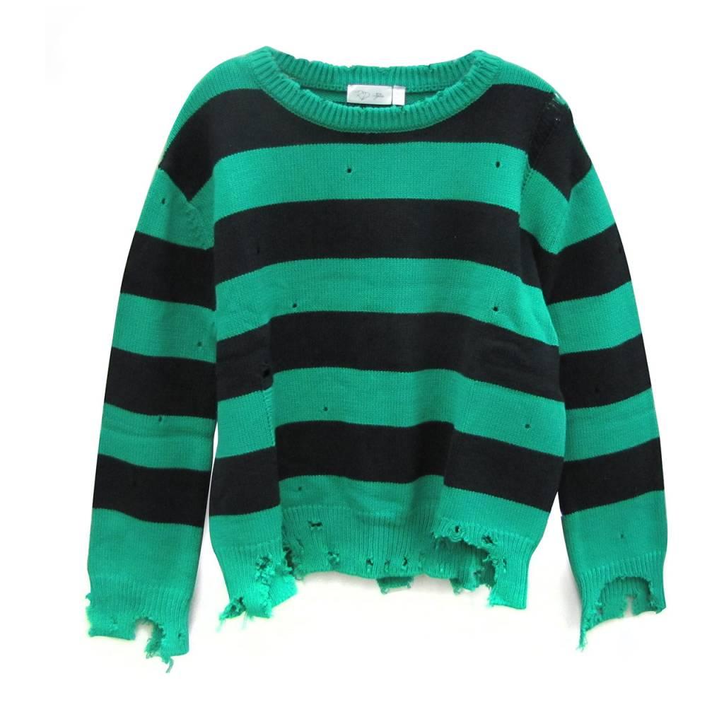Distressed Stripe Sweater