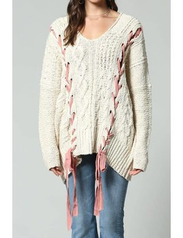 Cable Knit Hooded Sweater with Lace Up