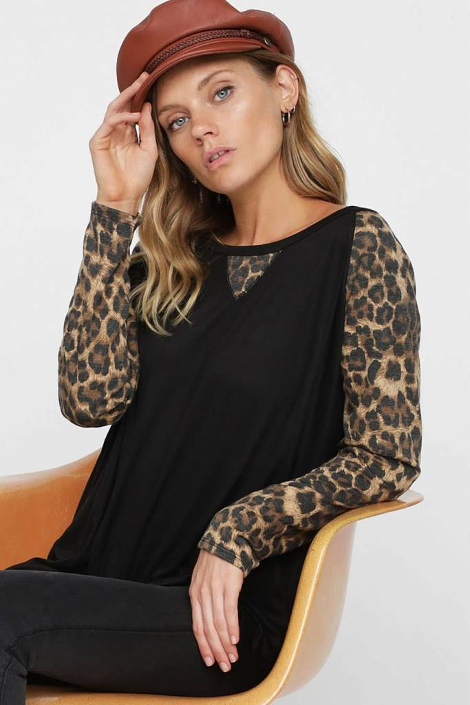 Solid Top with Leopard Sleeves