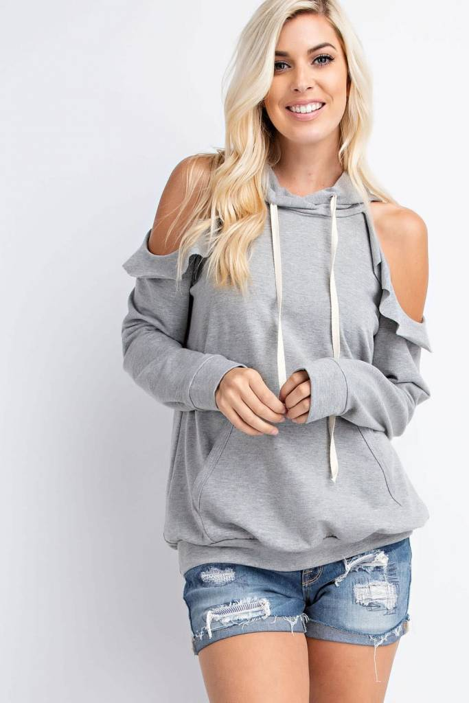 Ruffle Cold Shoulder Hooded Sweatshirt