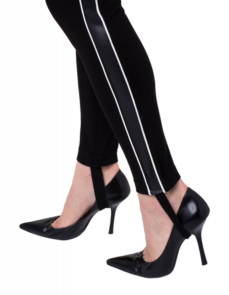 Ponte Legging with Faux Letaher Stripe and Stir up