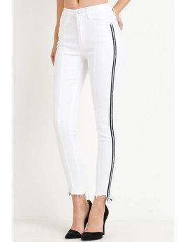 High Waist Skinny Jeans with Side Stripe