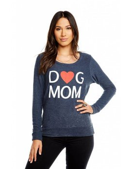 Dog Mom Knit Pullover with Heart Elbows