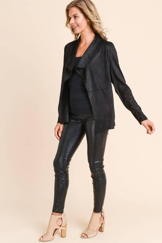 Faux Suede Jacket with Drape Lapel