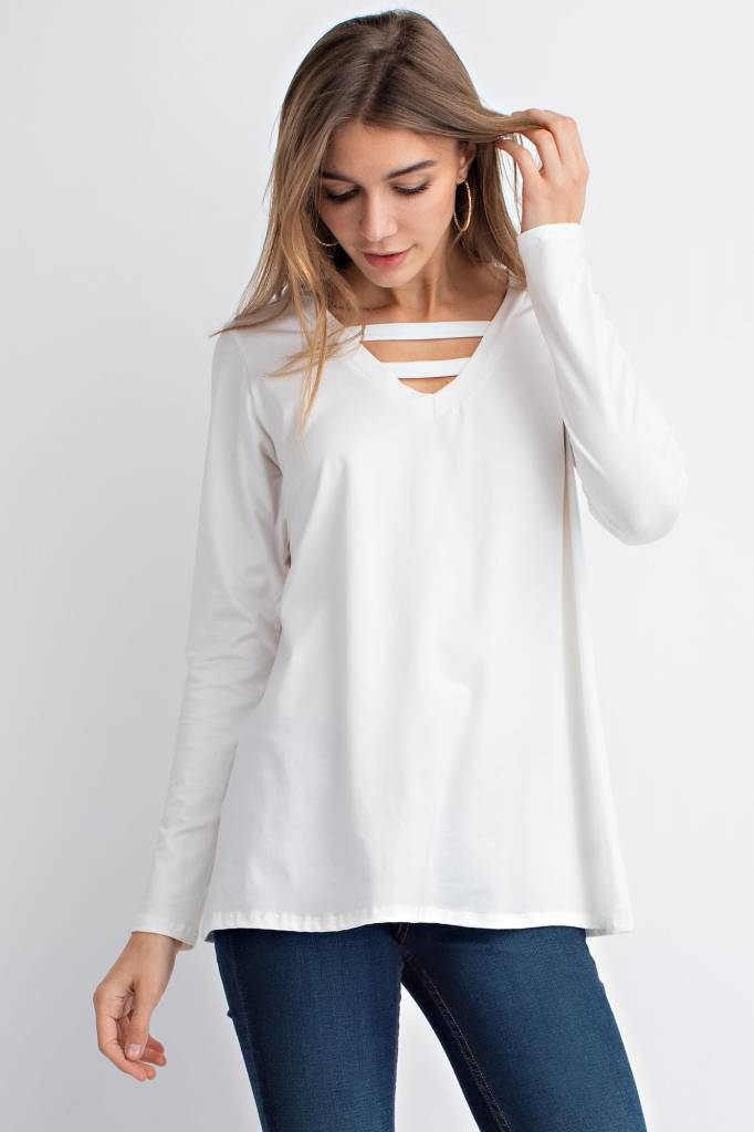 Long Sleeve V-Neck Top With Front Detail