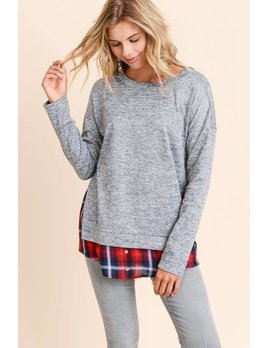 08599375d1662 Layered Sweater With Plaid Hem