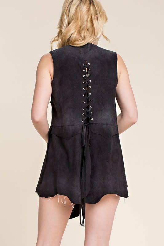 Faux Suede Vest with Grommet Lace Up Back