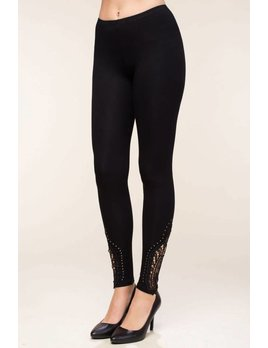 Crochet and Stud Trim Leggings