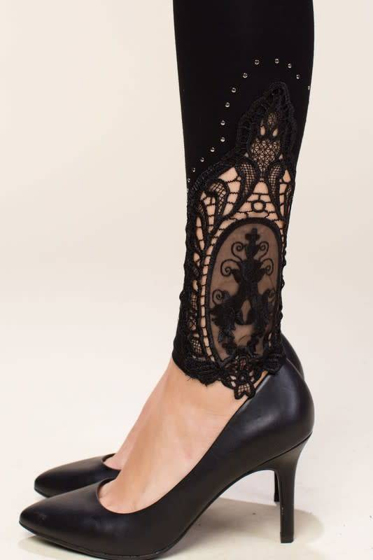 Crochet and Stud Trim Leggings