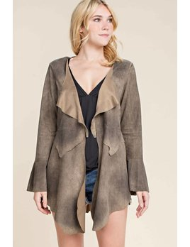 Faux Suede Lace Up Back Jacket