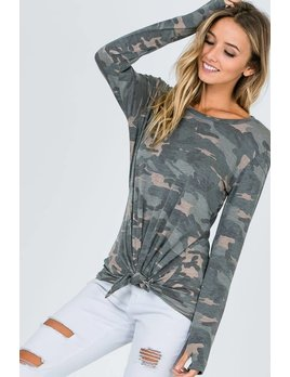 Camouflage Tie Front Top with Thumb Holes