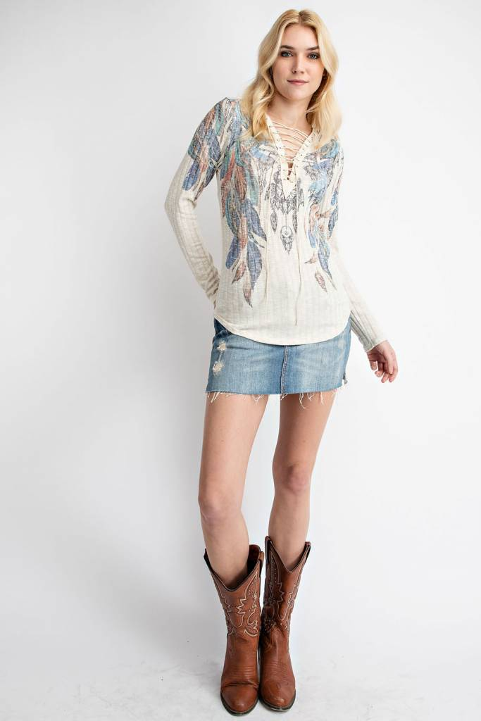 Feather Printed Lace Up Top