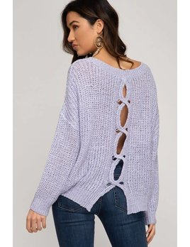 Pullover Sweater with Open Back Detail