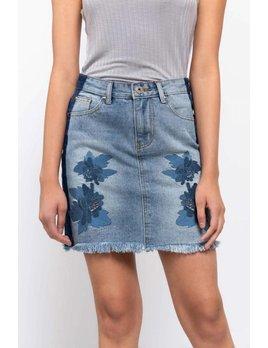 Raw Edge Denim Floral Mini Skirt