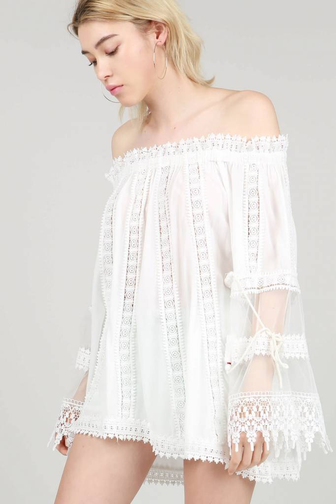 On or Off Shoulder Lace and Crochet Top