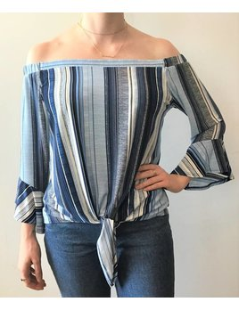 Stripe Off Shoulder Front Tie Top