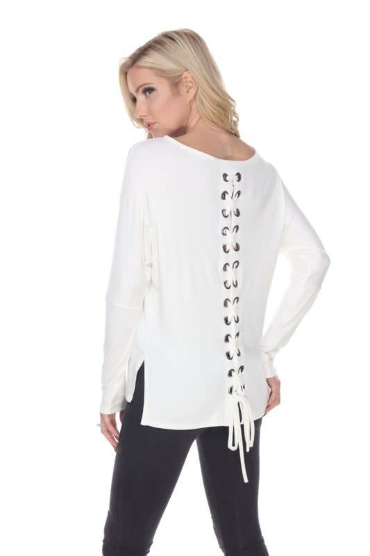 Lace Up Back Dolman Sleeve Top