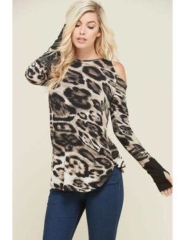 Leopard Cold Shoulder Top with Thumb Holes