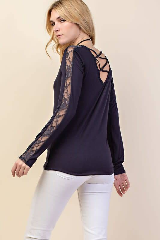 Lace Contrast Long Sleeve Top