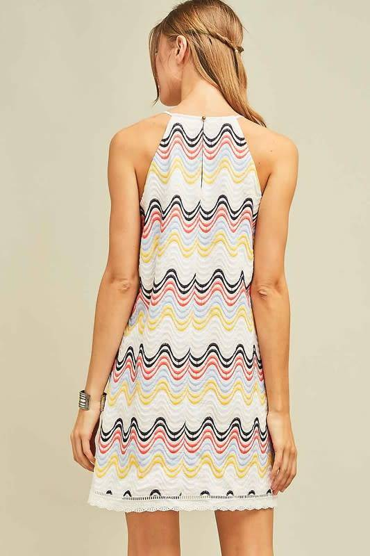Embroidered Chevron Dress