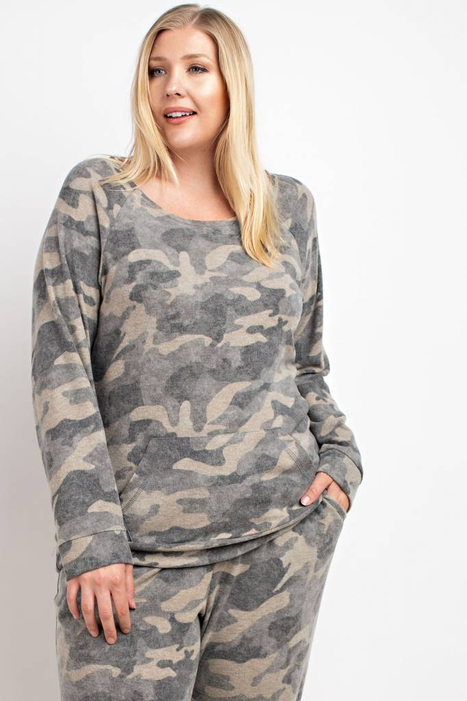 Camouflage Cut Edge Top