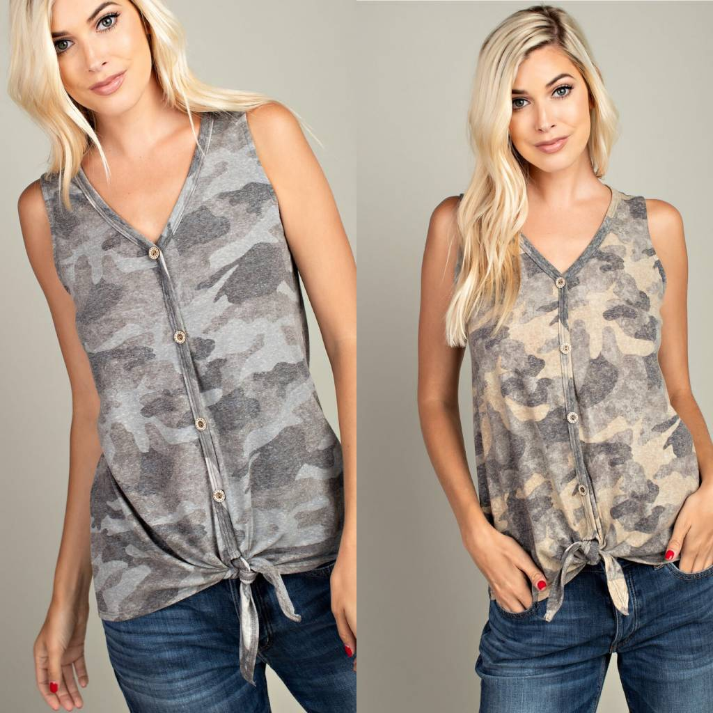 Camo Button Tank With Front Tie