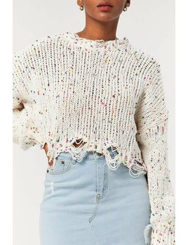 Distressed Speckled Sweater