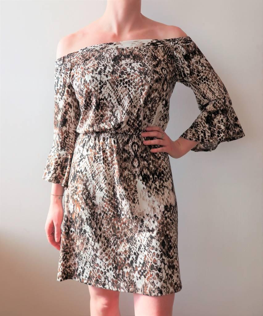 Off Shoulder Snake Print Dress with Bell Sleeves