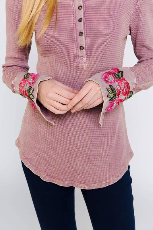 Floral Embroidered Cuff Waffle Top