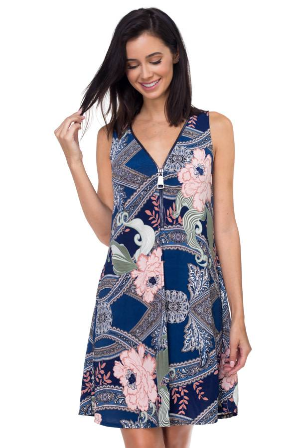 Printed Zip Dress