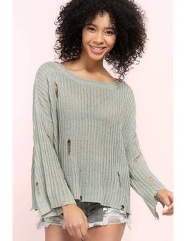 Sheer Knit Distressed Sweater