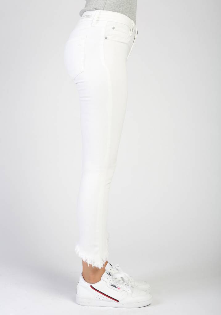 Frayed Slit Hem Mid- Rise Jeans