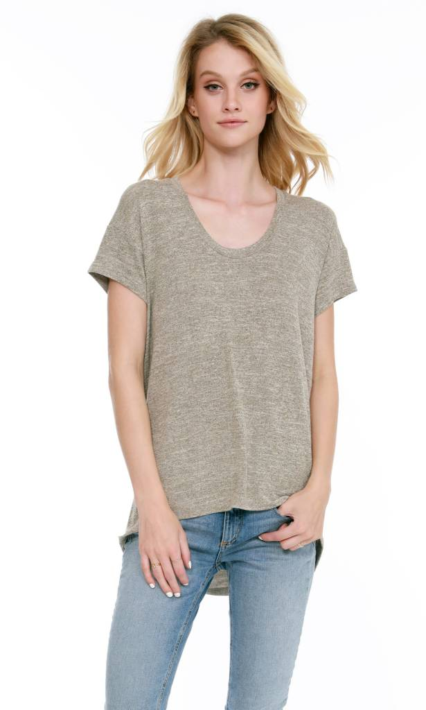 V Neck Hi Lo Tee Shirt
