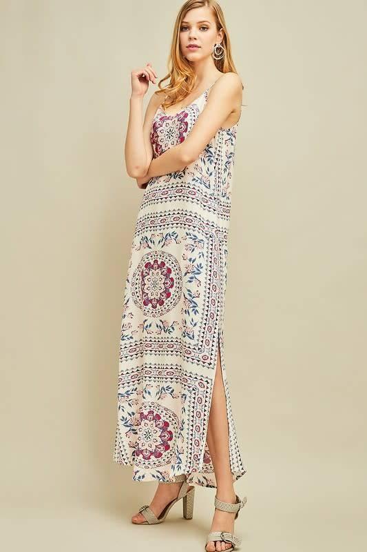 Side Slit Print V Neck Dress