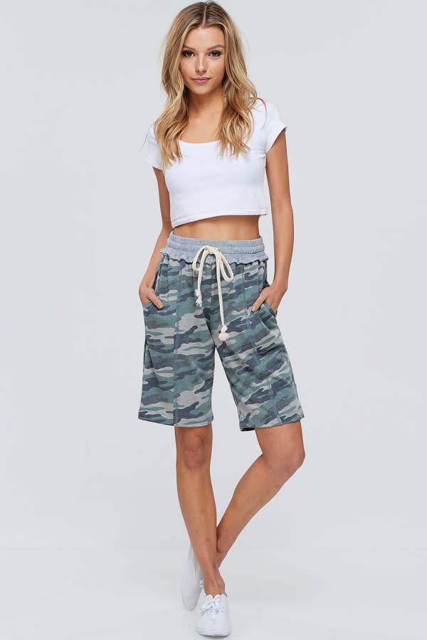 Camouflage Long Short With Drawstring