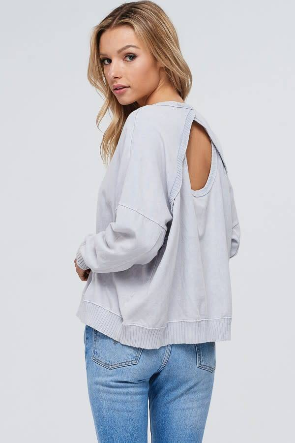 Mineral Wash Open Back Knit Top
