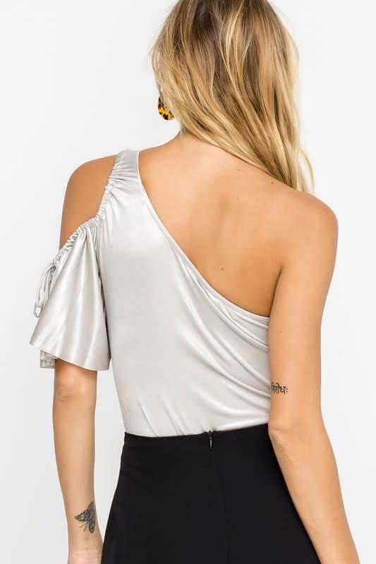 Metallic One Shoulder Bodysuit