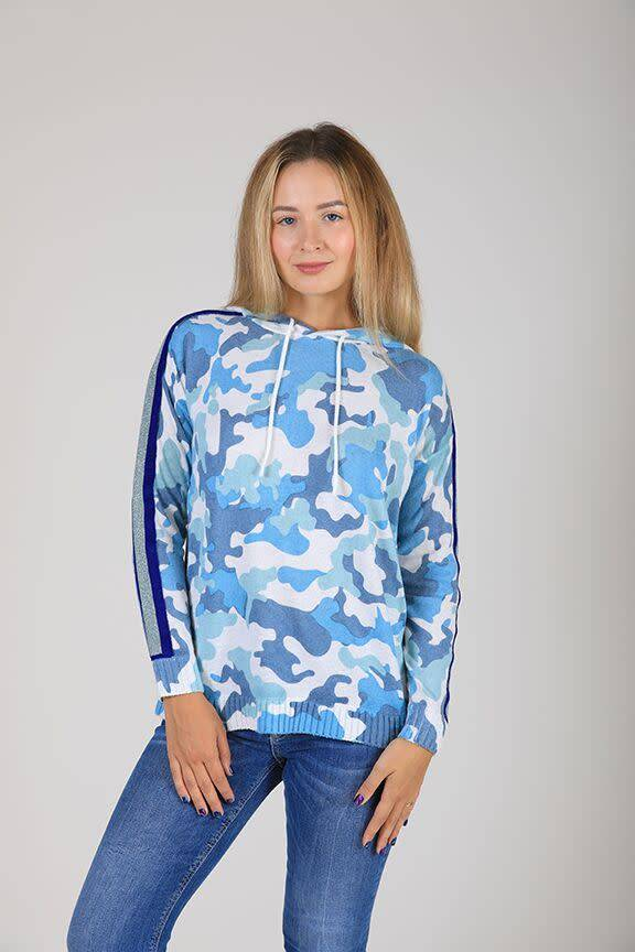 Camouflage Hoodie with Stripe Sleeve