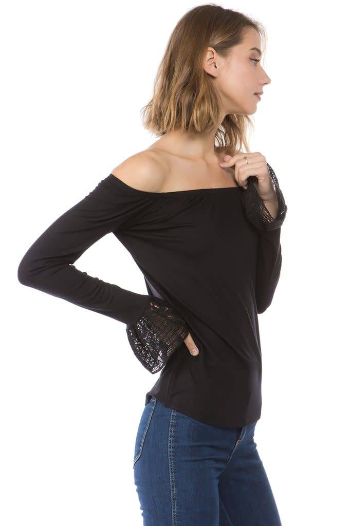 Off Shoulder Lace Bell Sleeve Top