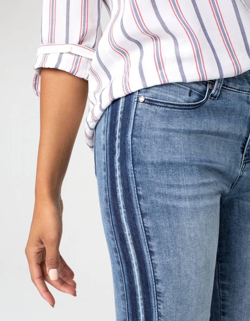 Racer Stripe Jeans with Raw Hem