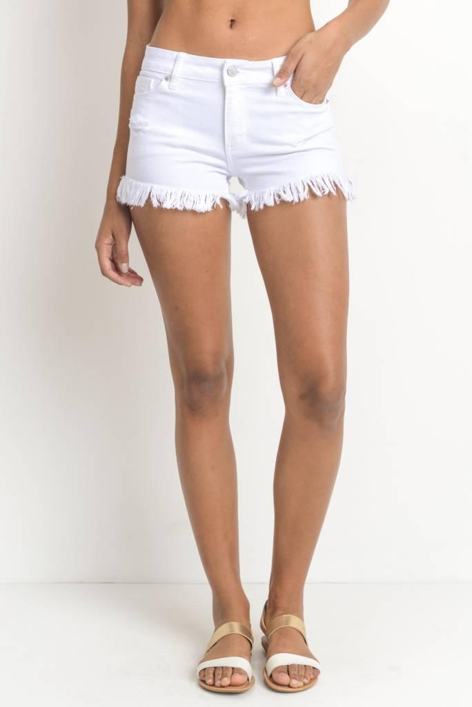 Long Frayed Hem Shorts