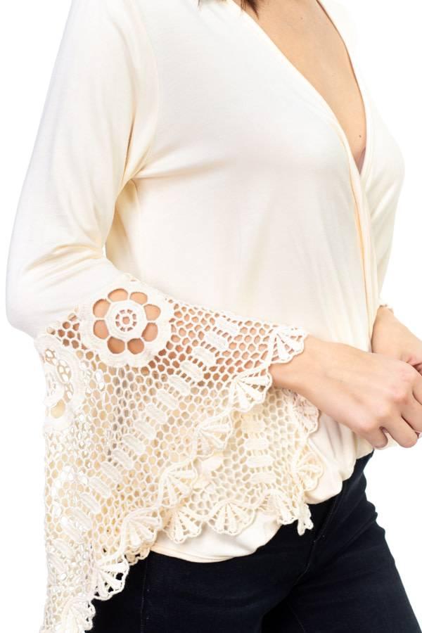 Crossover Crochet Sleeve Top