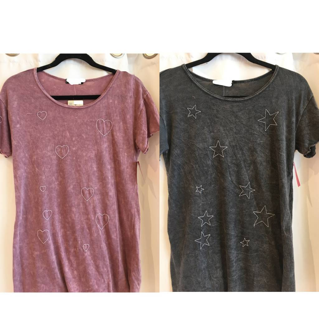 Mineral Wash Embroidered Tee