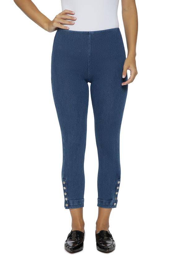 Snap Denim Cuff Leggings